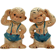 Vintage Monkey S&P Shakers 1940-50s Original Corks Good Condition