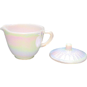 Vintage Federal Glass Co. Creamer & Sugar Lid Moon Glow Pattern 1974 Very Good Condition