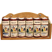Vintage Decorative & Functional Kitchen Spice Rack with Dutch Windmill Decals 1950s Very Good