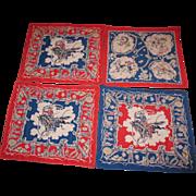 Vintage 5 Cowboy Handkerchiefs 1950s Good Condition