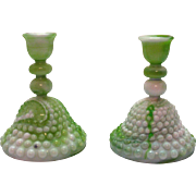 Vintage Akro Agate style of slag marble hobnail candle holders that are still in good ...