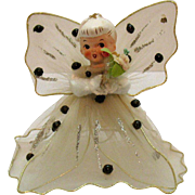 Vintage Christmas Angel Ornament with Tulle Wings & Dress Ceramic Head 1950s Good Condition