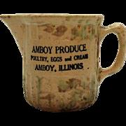 Vintage Amboy Illinois Spongeware Milk/Creamer Pitcher 1930-50s Good Condition