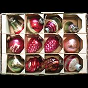 Vintage 12 Shiny Brite Christmas Tree Glass Ornaments 1940-50s Good Vintage Condition