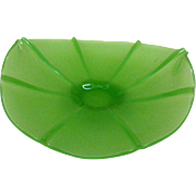 Vintage Fenton Art Glass Satin/Stretch Green Glass Banana Bowl 1920-30s Very Good Vintage ...