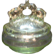 Vintage L.E. Smith Depression glass Powder Puff Jar Transparent Green Elephants on Lid Good ..