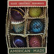 Vintage 6 Christmas tree Glass Ornaments 1940-50s