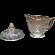 Vintage Jeannette Depression glass Iris Pattern Creamer with Sugar Bowl Lid 1928-32 Good ...