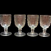 Vintage Jeannette Depression glass Iris Pattern 3 Water Goblets 1928-32 Good Vintage Condition