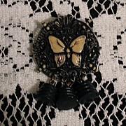 SALE 50% OFF~Vintage Art Deco Carved Bakelite Brooch Floral Butterfly Charms