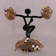 SALE 50% OFF~Vintage Signed Lisner Brooch Earrings Set Rhinestones UNWORN