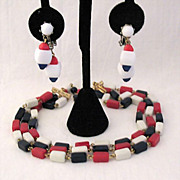 SALE 50% OFF~Vintage Patriotic Necklace Earrings Set Glass Beads Red White Blue Fabulous