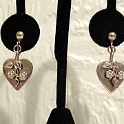 SALE 50% OFF~Vintage Dangle Heart Earrings Floral Overlay Screw Back