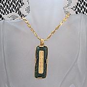 Unusual Vintage Signed Robert Rose Poured Glass Necklace~GORGEOUS~ Art Glass Pendant~UNWORN~MI