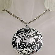 SALE 50% OFF~Amazing Vintage Signed Western Germany Necklace  Pendant  Etched Flamingo Scene