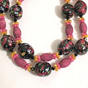 SALE 50% OFF~Unusual Vintage Mod Necklace Cork & Paper Mache Beads