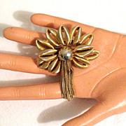 SALE 50% OFF~Unusual Vintage Brooch Palm Tree Tassel Big Bold