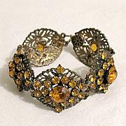 SALE 50% OFF~Fabulous Vintage Brass Bracelet Citrine Rhinestones