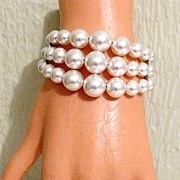 SALE 50% OFF~Big Bold Memory Wire Bracelet Wrap White Glass Pearls