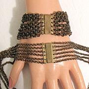 SALE 50% OFF~Unusual Antique Festoon Necklace & Bracelet Brass