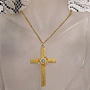 SALE 50% OFF~Vintage Rhinestone Cross Pendant Necklace~UNWORN
