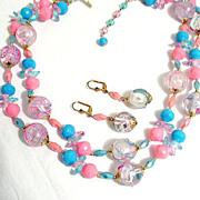 SALE 50% OFF~Unique Vintage Lucite Necklace Pierced Earrings Set Double Strand Hand Painted