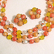 SALE 50% OFF~Vintage Signed Lisner Necklace & Earrings Set