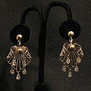 SALE 50% OFF~Unique Vintage Dangle Rhinestone Screw Back Earrings~Angel Wings