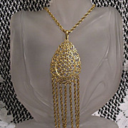 SALE 50% OFF~Bold Vintage Bubble Pendant Tassel Chain Necklace~UNWORN