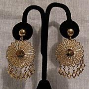 SALE 50% OFF~Vintage Filigree Disk Dangle Screw Back Earrings