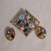 SALE 50% OFF~GORGEOUS Vintage Kramer of New York Brooch Earrings Set~Art Glass Rhinestones