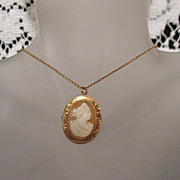 SOLD Antique Hallmarked GLD 10K Gold Cameo Necklace & Brooch
