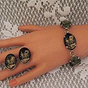 SALE 50% OFF~Vintage Rickshaw Reverse Intaglio Glass Bracelet & Earrings Set