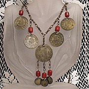 SALE 50% OFF~Unique Vintage Repousse Medallion Carnelian Charm Necklace~Brass