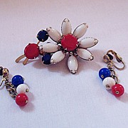 SALE 50% OFF~Vintage Patriotic Milk Glass Stone Brooch & Earrings Set~Unsigned Weiss