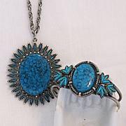 Rare Vintage Signed JJ Star Burst  Necklace Bracelet Set Santa Fe Line