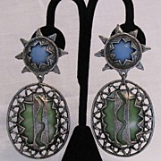 SALE 50% OFF~Vintage Egyptian Revival Clip Earrings Lucite Sun Star Lighten Bolt Shoulder ...