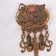 SALE 50% OFF~Unique Vintage Brass Charm Brooch Ballerina Teddy Bear Rhinestone