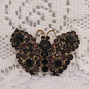 SALE 50% OFF~Amazing Czechoslovakia  Rhinestone Butterfly Brooch