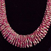 SALE 50% OFF~Unusual Vintage Wood Beaded Pink Necklace