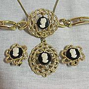 SALE 50% OFF~Vintage Cameo Parure Necklace Bracelet & Earrings Costume Jewelry Set