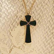 SALE 50% OFF~Bold Signed Avon Vintage Juliet Cross Necklace Faux Jade