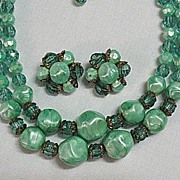 SALE 50% OFF~Vintage Marbled Lucite Jade Colored Beaded Necklace Earrings Set