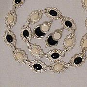 SALE 50% OFF~Vintage Necklace Bracelet Pierced Earrings Set Black White Poured Glass Enameling