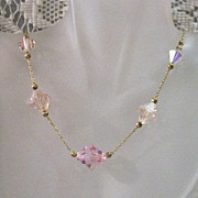 SALE 50% OFF~Art Deco Pink Leaded Crystal Glass Necklace Paper Clip Chain