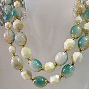 SALE 50% OFF~Vintage Lucite Faux Turquoise  Double Strand Necklace Signed Hong Kong