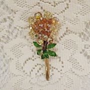 SALE 50% OFF~Magnificent 4 Inch Amber Glass Beaded Brooch Rhinestones Enameled Flower Bouquet