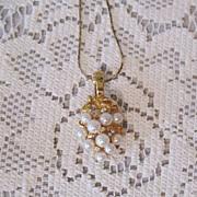 SALE 50% OFF~Gorgeous Vintage Necklace Faux Pearl Rhinestone Pendant