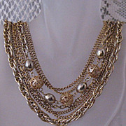 SALE 50% OFF~Amazing Brass Vintage 7 Chain Torsade Filigree Beaded Necklace