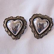 SALE Vintage Signed Taxco Sterling Silver Heart Earrings~Pierced